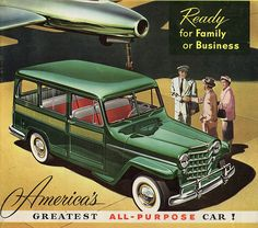 old car brochure 1953 Willys Wagon in Willys-Jeep - Vintage Car Brochures - Vintage . Vintage Jeep, Vintage Ads, Willys Wagon, Jeep Willys, Jeep Concept, Jeep Wagoneer, Old Jeep, Ad Car, Jeep Pickup