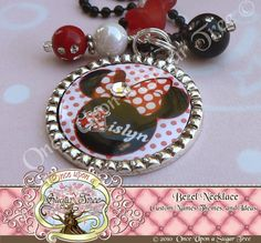 Custom Name Initial Minnie Inspired Pendant Necklace