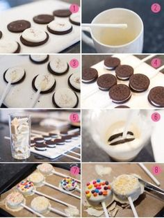 Oreo Pops dipped in white chocolate using ribbons as decoration. Oreo Cake Pops, Oreo Frosting, Cakes To Make, How To Make Cake, Easy Desserts, Dessert Recipes, Oreo Desserts, Chocolate Covered Treats, Food Platters