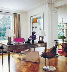elle decor, october 2006 - home office, contemporary - at the london apartment of jimmy choo founder tamara mellon, decorator martyn lawrence-bullard mixed a vintage jansen desk, a eames chair upholstered in hot-pink leather Home Office Space, Home Office Design, Home Office Decor, House Design, Office Spaces, Office Ideas, Work Spaces, Desk Office, Office Floor