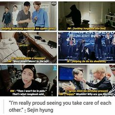 Bangtan caring for each other like a family. This warmes my heart so much.. I wanna cry now TT