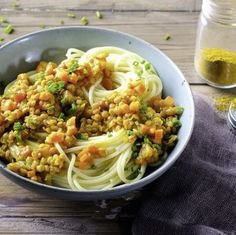 Spaghetti mit Currylinsen