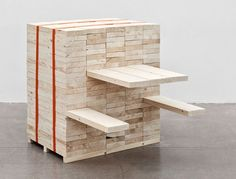 Swedish designer Daniel Svahn has created a conceptual wooden bench, christened Picnic, by using wood from the fallen trees. Dark Furniture, Studio Furniture, Reclaimed Wood Furniture, Salvaged Wood, Vintage Furniture, Furniture Design, Industrial Furniture, Vintage Industrial, Sustainable Furniture
