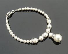 Wedding Pearl Drop Bracelet, NICOLE - Jules Bridal Jewellery