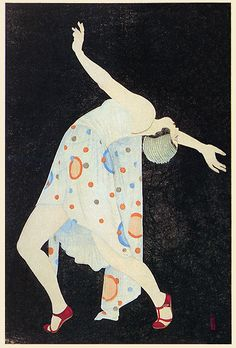 Deco Dance by Kobayakawa Kiyoshi - 1932 This is gorgeous. How can I get this in poster form? Art Nouveau Pintura, Arte Art Deco, Moda Art Deco, Estilo Art Deco, Art Deco Illustration, Illustrations, Harlem Renaissance, Japanese Prints, Japanese Art