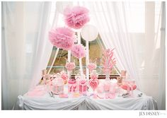 Pink & White Candy Bar Baby Shower ideas baby girl