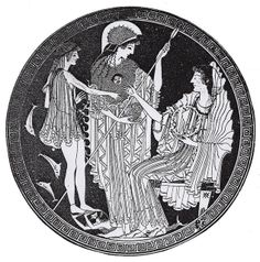 Theseus (Triton) - Athene - Amphitrite (kylix by Panaitios Painter, ca. 500 BC) Theseus has arrived in the submarine palace of Poseidon and Amphitrite, as Bacchylides tells in the 17 Ode.Unlike the poet, the painter has Athena as a centralfigure. She will have guided Theseus,who is younger than he appears in Bacchylides.The diadem with which Amphitrite is about to crown the hero corresponds to the 'flawless wreath' of the poem.The god Triton completes the picture by holding up Theseus' feet.