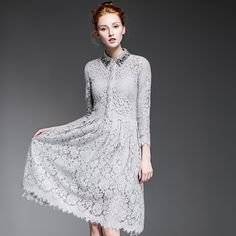 2016 Spring Lace Dress Women's High Quality Brand Fashion Beading Collar Long Sleeve Plus Size Sexy Black Lace Party Dresses