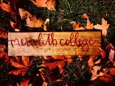 Meredith College Wooden Sign by BetweenLinesbyB on Etsy