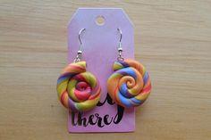 rainbow swirl lollipop polymer clay earrings / colourful