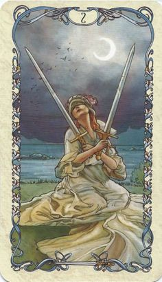 Two of Swords - Tarot Mucha