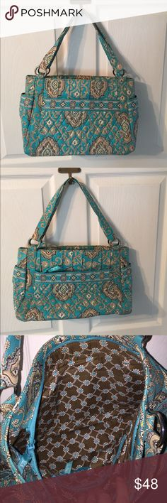 "Vera Bradley Stephanie in Totally Turq NWOT. Exterior features two slip pockets on each side of the bag, front has two slip pockets, back has a zip pocket. Interior features one zip and two slip pockets. Zip closure. Dimensions 12 1/2"" w x 9 1/4"" h. Strap drop 9"". Vera Bradley Bags Shoulder Bags"