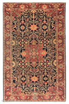 "Antique Persian Kashan Rug. 4'5"" x 7' (135x210 cm)."
