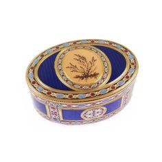 - Louis XVI oval gold and moss agate style enamel box by Pierre-Robert Dezarot, Paris 1778,