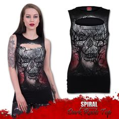 Spiral Clothing - Dark Roots (Laser Cut Top) - With its roots merging in to the skulls of those gone before, this Sleeveless Top from Spiral is essential for all fantasy art lovers!