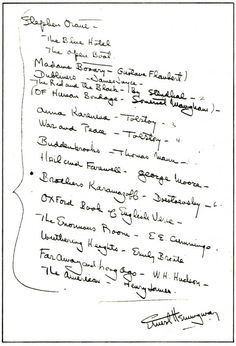 Ernest Hemingway Creates a Reading List for a Young Writer, 1934