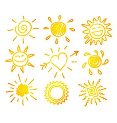 Summer Season: Hand-Draw Sun Set - Stock Illustration at FeaturePics Sun Doodles, Sun Drawing, Cute Sun, Sun Tattoos, Sun Art, Lettering Design, Easy Drawings, Rock Art, Doodle Art