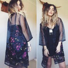 Beautiful Dark Gypsy Kimono  No tags Free size ! XS - XL Sheer black soft organza - Super luxe // Richly embroidered with folky florals // Shades of magenta and sage Easy to wear boxy light jacket kimono shape // Single front tie // Mid thigh length // Wide 3 quarter sleeve  So so so perfect over a black silky slip + jewels Like new - No issues Model is 160cm Size 8AU 4US and 8.5 months pregnant - Will fit a wide variety of sizes Need exact measurements ?? Just ask !!  XXX