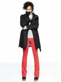 Avoid jackets that are puffy/bulky - try something like this Gap Military Jacket that's tailored to flatter!