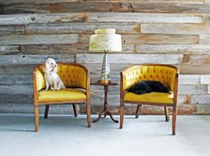This pair of cheery yellow chairs would look perfectly at home in a sunny corner.