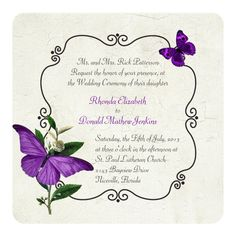 Chic Vintage Purple Butterflies Wedding Invitation