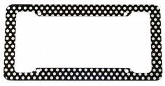 Black Polka Dots License Plate Frame