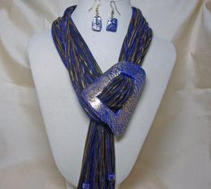 Blue Scarf Necklace with Matching Buckle and Earrings via Etsy