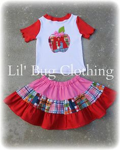 Back To School Custom Boutique Clothing Girl by LilBugsClothing, $39.99