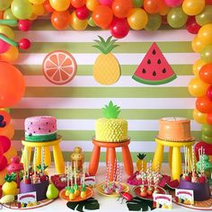 Trendy ideas for fruit party kids birthday cakes Watermelon Birthday Parties, Girls Birthday Party Themes, Fruit Party, Birthday Diy, Birthday Decorations, Cake Birthday, Party Snacks, Birthday Ideas, 2 Year Old Birthday Party Girl