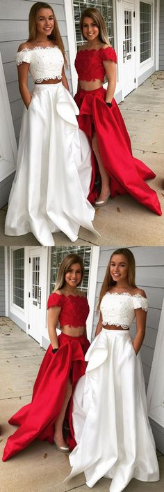 A-Line Off-the-Shoulder Sleeveless Sweep/Brush Train With Lace Satin Two Piece Dresses Sleeveless Dress, Lace Dress, Dress A-Line, Two Pieces Dress Fashion Dresses 2019 Two Pieces Dress, Prom Dresses Two Piece, Prom Dresses For Teens, Unique Prom Dresses, A Line Prom Dresses, Formal Dresses For Women, Cheap Dresses, Evening Dresses, Sleeveless Dresses