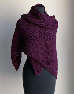 Hand Knit Large Shawl Wrap Regal Burgundy Stylish by PeacefulPath