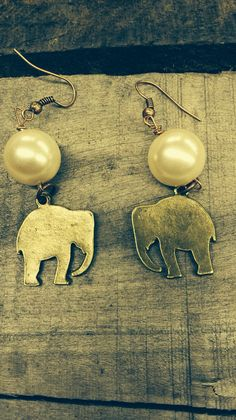 Beautiful Roll Tide Brass Elephant Earrings on Etsy, $16.00