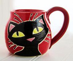 Cat mug, pottery mug, cat head, birthday gift, ceramic mug, animal art, holds 13 oz., dishwasher and microwave safe.
