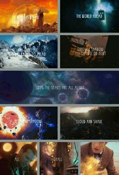 """""""Home is behind, the world ahead, and there are many paths to tread. Through shadow, to the edge of night, until the stars are all alight. Mist and shadow, cloud and shade. All shall fade, all shall fade."""" LOTR/Doctor Who"""