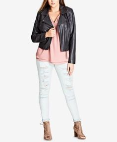 City Chic Trendy Plus Size Faux-Leather Whipstitched Biker Jacket $129.00 Accented with rocker-inspired whipstitching, City Chic's plus size biker jacket is designed in faux leather for an authentic look with a rebellious attitude.