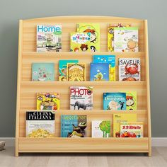 Single-Sided Bookcase Display Stand for Kids - Wood