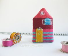 Tiny HOUSE brooch Plum purple pink and turquoise with by Loddelina, €12.50