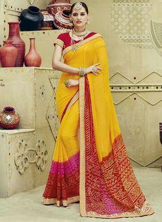 28a8579460 Party Wear Yellow Chiffon Lace Border Work saree Trendy Sarees, Stylish  Sarees, Party Wear