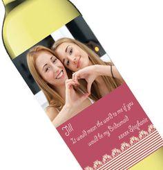Personalized Photo Pink Bridal Party Invite Wine Bottle Label - Wholesale Favors