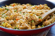 This Chicken Fried Rice recipe is a family-favorite of ours. It has all the classic elements of fried rice with teriyaki chicken through out! Rice Recipes, Lunch Recipes, Asian Recipes, Chicken Recipes, Dinner Recipes, Cooking Recipes, Healthy Recipes, Ethnic Recipes, Cooking Corn