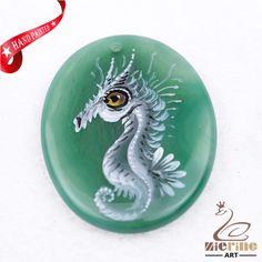 Hand Painted Sea horse Agate Slice Gemstone Necklace Pendant Jewlery D1707 1670 #ZL #Pendant