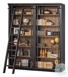 Create the home library of your dreams with this handsome two-bookcase wall set that includes a traditional bookshelf ladder. Ladder sits from the bookcase. Martin Furniture, Office Furniture, Home Furniture, Furniture Stores, Business Furniture, Furniture Market, Etagere Bookcase, Ladder Bookcase, Beach Cottages