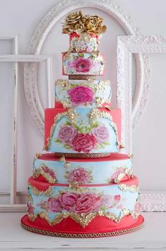Cake Red Pink And Gold Wedding | Wedding Cakes Pictures: Red, Gold and Decadent Wedding Cake