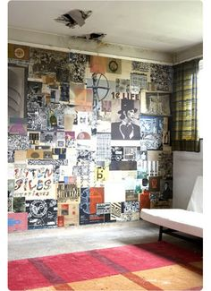 collage walls are a cool way to jazz up a room! we could do this idea but with blk & white pics. ours would look way crisper                                                                                                                                                                                 More