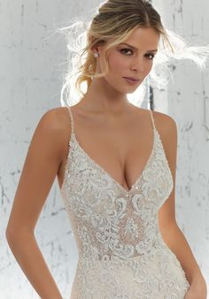 AF Couture by Morilee 1711 Laurette Beaded Fitted Wedding Dress - Off White Bride Western Wedding Dresses, Lace Wedding Dress, Bridal Wedding Dresses, Wedding Dress Styles, Designer Wedding Dresses, Backless Wedding, Dress Lace, Bridesmaid Gowns, Haut Bikini