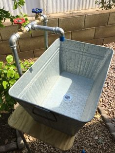 This Industrial galvanized laundry sink and faucet is just one of the custom, handmade pieces you'll find in our outdoor & gardening shops. Large Galvanized Tub, Outside Sink, Outdoor Sinks, Outdoor Garden Sink, Outdoor Kitchen Sink, Outdoor Furniture Sets, Outdoor Decor, Rooms Furniture, Metal Furniture