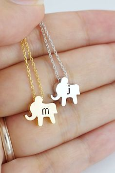 Personalized cute mini elephant necklace from EarringsNation for animal lover, nature lover