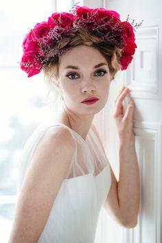 Bold flower crown | Joel Bedford Photography | see more on: http://burnettsboards.com/2014/04/sensual-boudoir-inspiration-shoot/