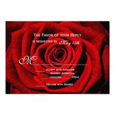 Red Rose Valentine's Day Wedding RSVP Cards