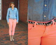 Alexa  Denim shirt + bright neon pants + zebra belt = amazing